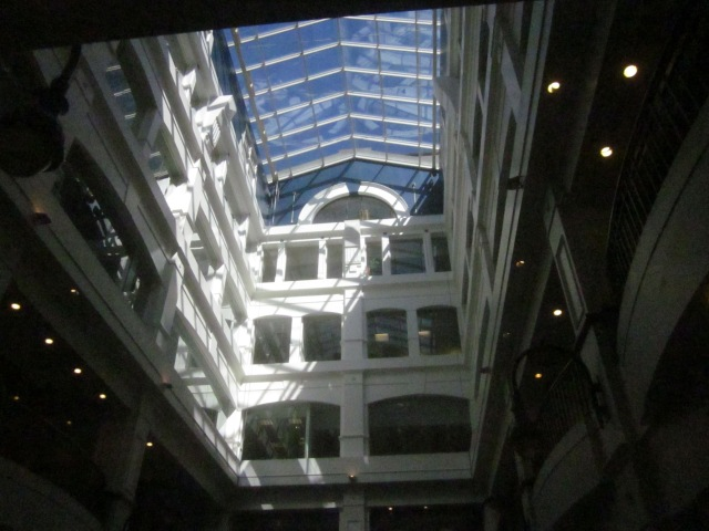 Looking up in the atrium of the Mellon Independence Center