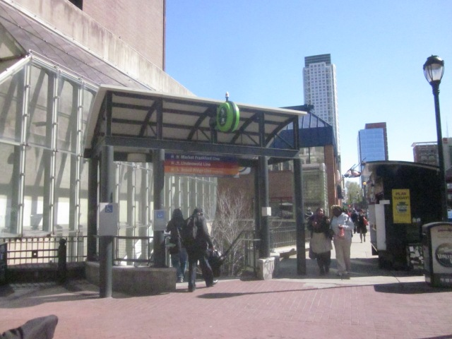 Entrance to transit stations under Eighth and Market Streets, including the Market/Frankford line, the PATCO line, and Market East Station