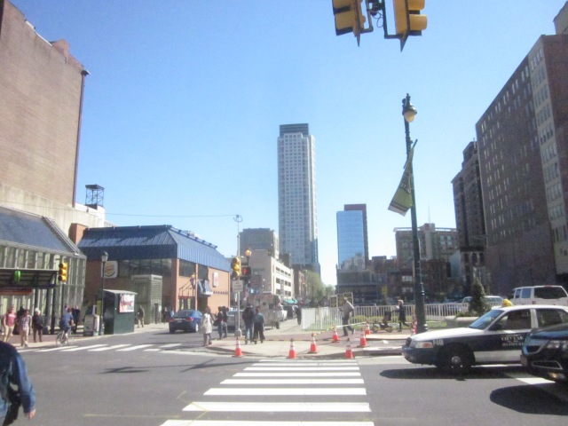 Looking south down 8th Street, towards the St. James apartment tower and Pennsylvania Hospital