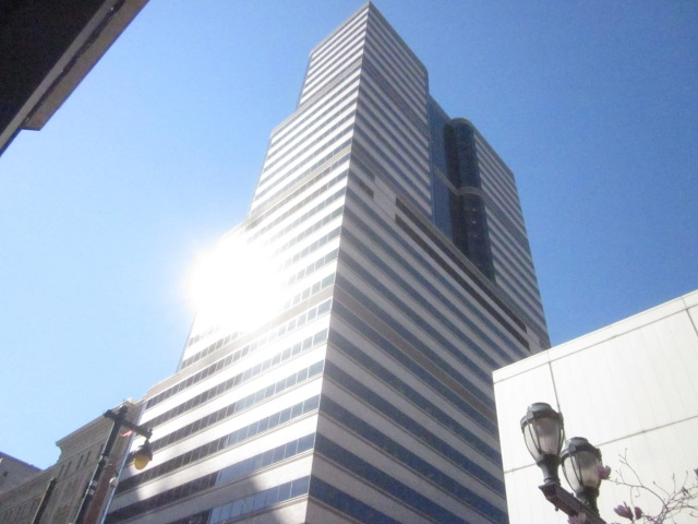 The Aramark Tower, at 11th and Market Streets, is about as tall as the future Mellon Independence Center Tower will be