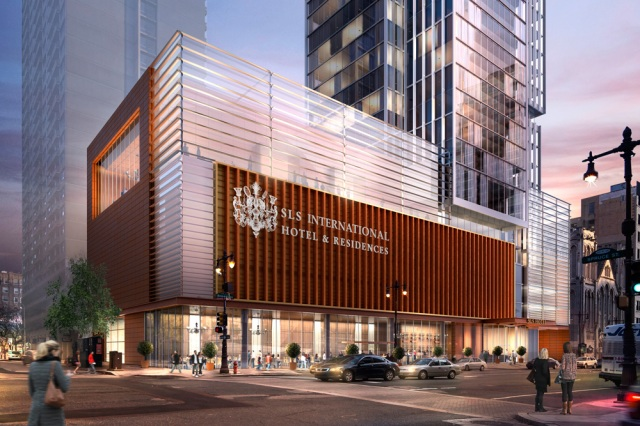 Rendering of street level view shows restaurant and ballroom