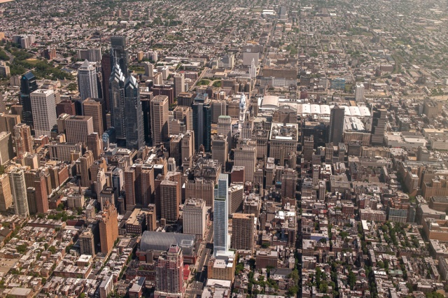 Aerial view of the SLS International Hotel and Residences on the Center City skyline