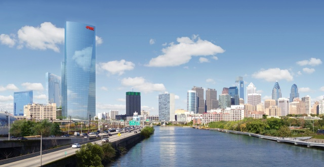 Rendering of the future FMC Tower as seen from the South Street Bridge