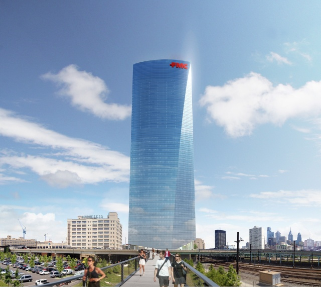 Rendering of the future FMC Tower from the entrance to Penn Park