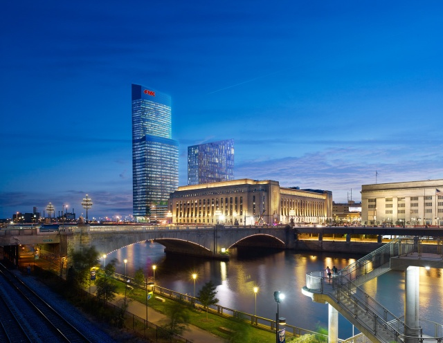 Rendering of Cira Centre South, at night, from JFK Boulevard