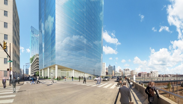 Rendering of the ground floor, and retail on Walnut Street, of the new FMC Tower