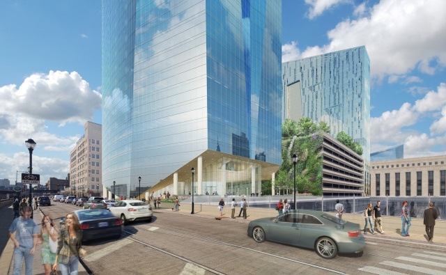 Rendering of lobby of the new FMC Tower, as seen from the Walnut Street Bridge