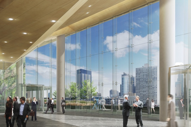 Rendering looking from lobby of new FMC Tower at Center City skyline