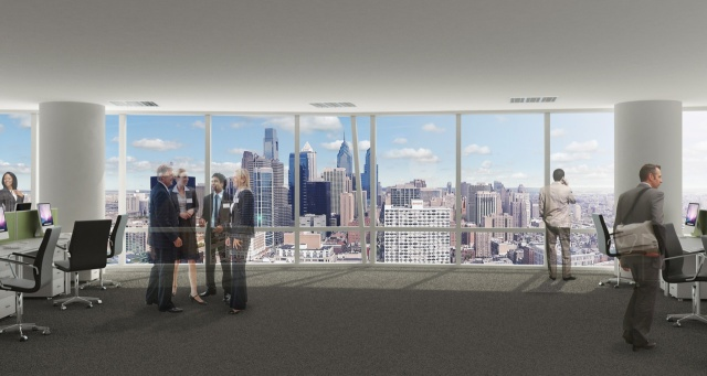 Rendering of view of Center City skyline from upper Floor of the new FMC Tower