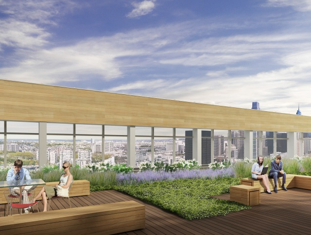 Rendering of rooftop plaza on new FMC Tower