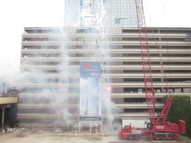 Fireworks after unveiling of banner of new FMC Tower at the groundbreaking ceremony