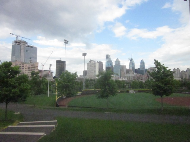 View of Cira Centre South and Center City from Penn Park