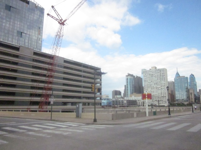 Site of the future FMC Tower and the Center City skyline in the background
