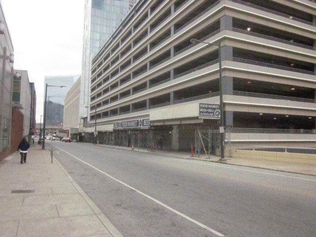 Looking at the retail along 30th Street at the base of the parking garage