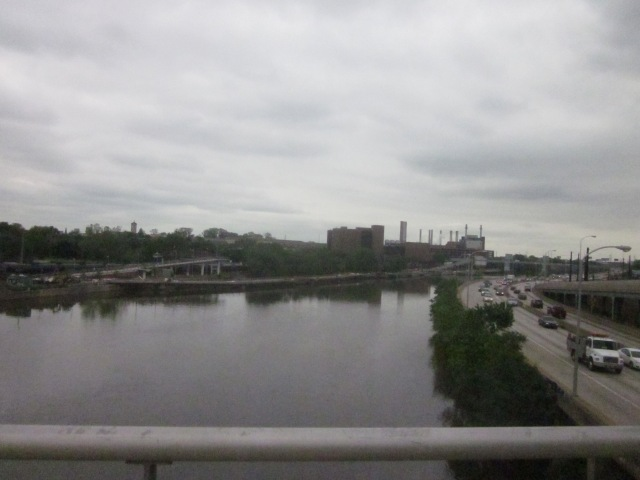 Looking south down the Schuylkill River, from Walnut Street Bridge, at the new Schuylkill Banks boardwalk to South Street